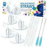6Packs (4 Straws+2 Cleaning Brushes) for Thermos Replacement Straws with 2 Stems, for Thermos 12 Ounce Funtainer Bottle F401, Silicone Drinking Straws Set with Cleaning Brushes