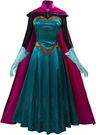 Amazon.com: Newcos Elsa Coronation Dress Halloween Princess Cosplay Costume Party Gown Outfit for Adult Women: Clothing
