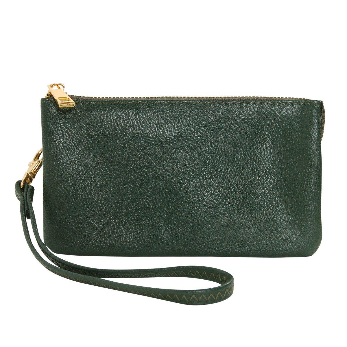 Humble Chic Vegan Leather Wristlet Wallet Clutch Bag - Small Phone Purse Handbag, Hunter Green, Dark Forest Green, Olive