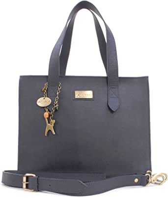 Catwalk Collection Handbags - Women's Large Leather Tote/Shopper - Shoulder Bag/Cross Body With Extra Detachable Adjustable Strap - Water Resistant - KATHARINA