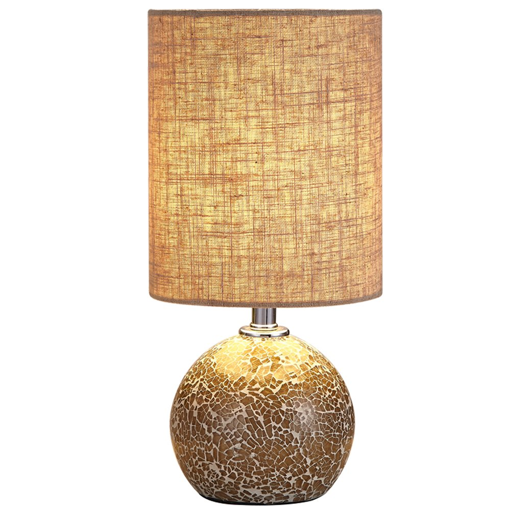 Boderrio Bedside Nightstand Table Lamp - Glass Mosaic Desk Lamp for Bedroom, Living Room, Office, Hotel, with Linen Drum Shade, 12.5'' H