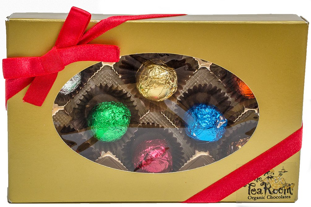 8 Premium Truffles in Gold Holiday Gift Box. Made Using Over 99% Organic Ingredients. All Natural, Non-gmo, Gluten Free