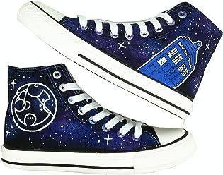 eb0ac87f440b HuanQiu Doctor Who Tardis Canvas Shoes High Top Circular Gallifreyan Painted  Fashion Sneaker for Women Men