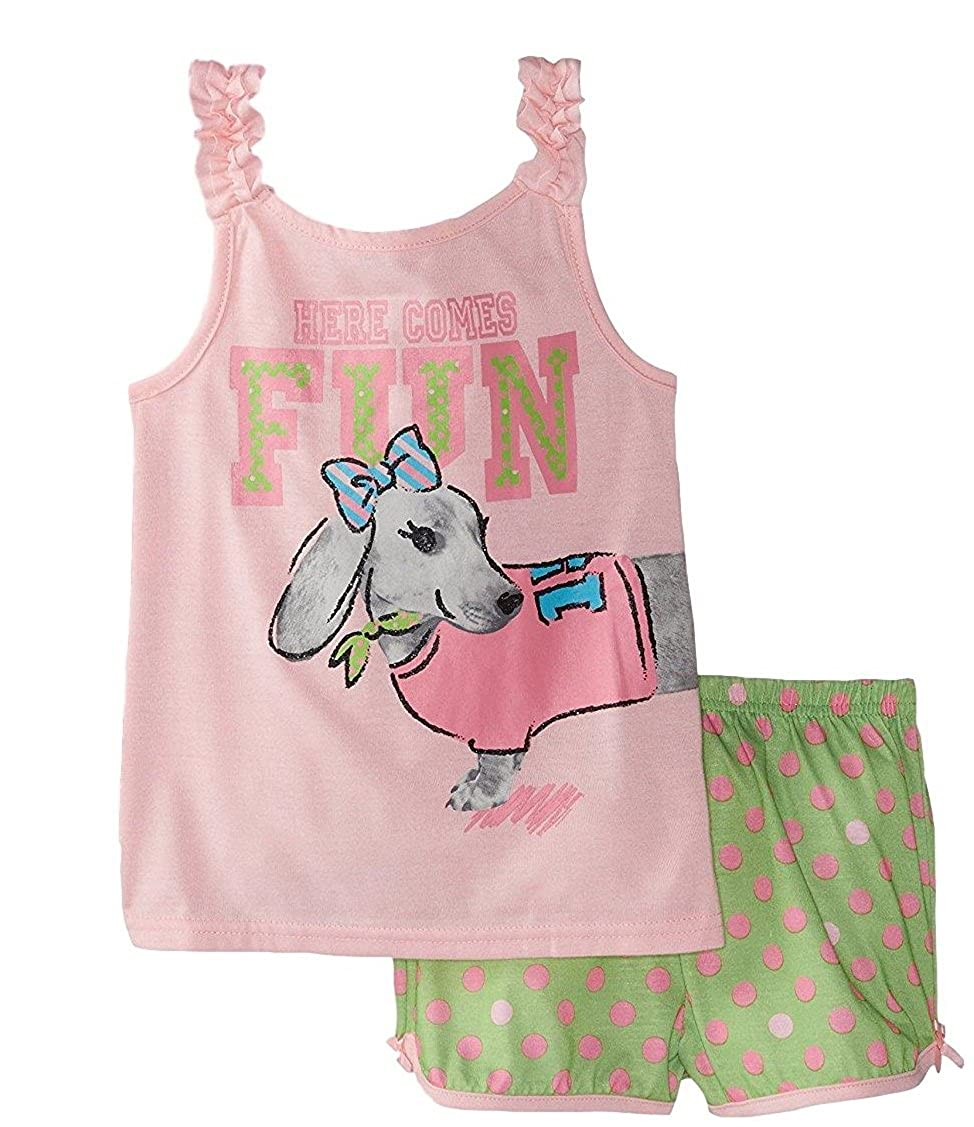 Alkii Girls 2-Piece Ruffled Tank and Short PJ Set Dachshund Print Here Comes Fun