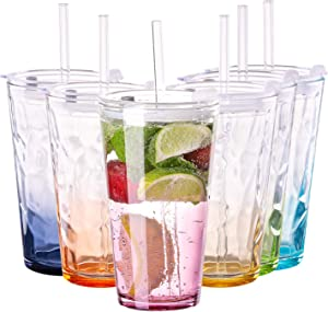 Vastto 17 Ounce Multicolor Diamond Pattern Glass Tumbler with Lid and Straw,Smoothie Cups for Water, Beverage,Juice, Wine,Beer, and Cocktail,Set of 6 (Six Gradient Colors)