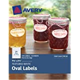 """Avery Oval Labels with Sure Feed for Laser & Inkjet Printers, 1-1/8"""" x 2-1/4"""", 210 White Labels (8216)"""