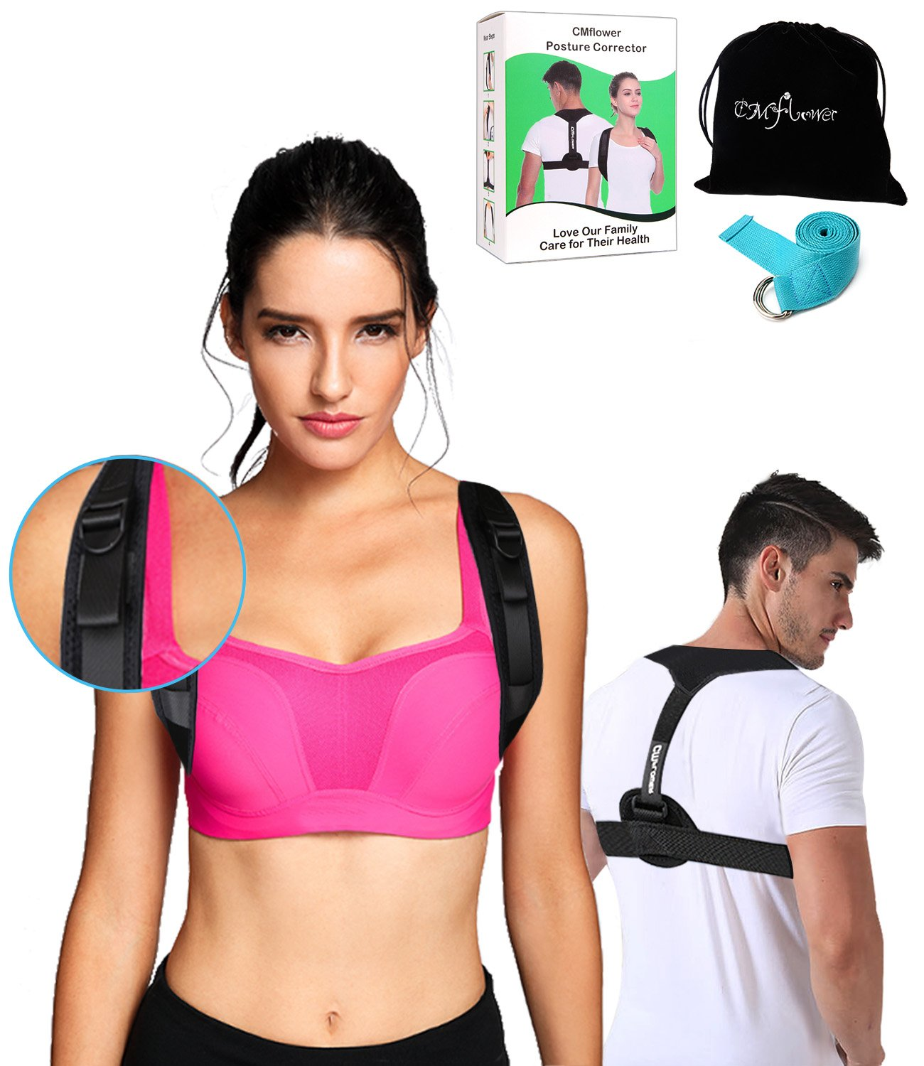 CMflower Posture Corrector 2018 New Easy Adjust Buckle Design Unnoticeable Back Brace with Yoga Strap and Carry Bag Breathable Soft Material for Men Women Kids to Correct Hunching Slouch Bad Posture by CMflower (Image #1)