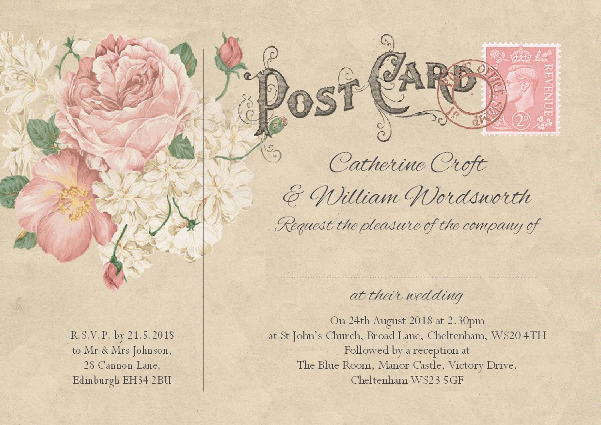 Wedding Supplies Home & Garden PERSONALISED RUSTIC BURLAP & BUNTING VINTAGE  POSTCARD SAVE THE DATE CARDS 10'S Home & Garden eglespaintings.lt