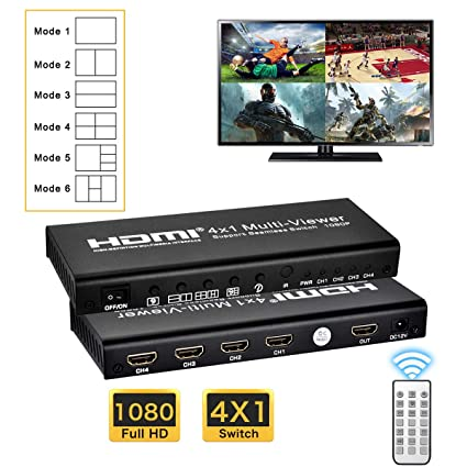 HDMI 4X1 MultiViewer, Quad Viewer 1080P 4 in 1 Out HDMI Screen Splitter  with 6 Modes, Seamless Switch for Game, IT Business, Exhibition Hall, Stock