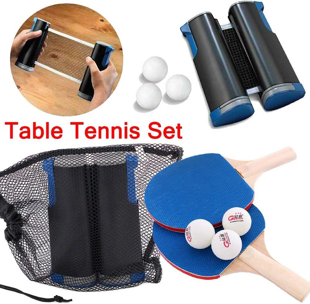 zhuangyulin6 Juego de Tenis de Mesa, Juego de Ping Pong Juego de Red de Tenis de Mesa retráctil portátil Juego de Ping Pong de Tenis de Mesa Juego de 2 Palas de Padel y Red de extensión de 3 Bolas