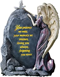Collections Etc Precious Angel Lighted Memorial Stone, Grey
