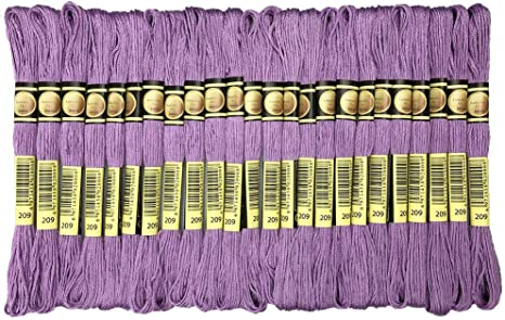 Cross Stitch Threads Premium Purple Embroidery Floss Friendship Bracelets Floss Crafts Floss- Hand Embroidery Thread 24 Skeins Per Pack and Free Set of 3Embroidery Needles and 2 Needle Threader