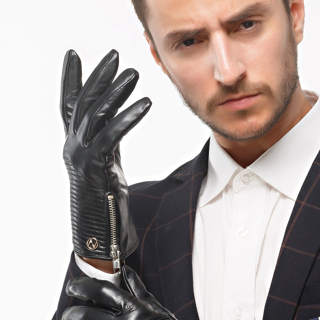 Nappaglo Men's Genuine Nappa Leather Gloves Touchscreen Winter Warm Driving Cycling Mittens with Metal Zipper (M (Palm Girth:8''-8.5''), Black (Touchscreen)) by Nappaglo (Image #2)