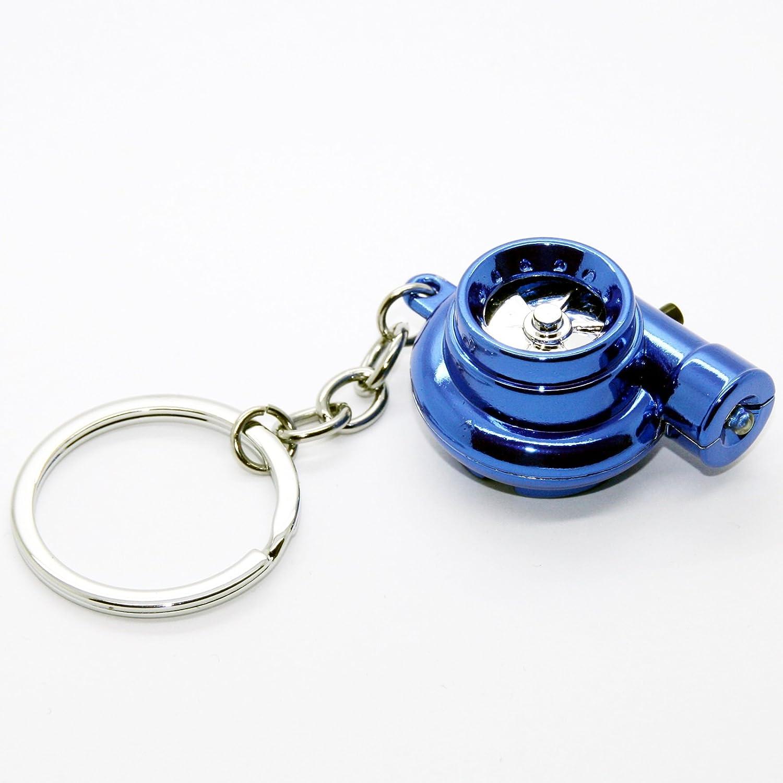 Llavero de turbo eléctrico con sonido y luz, llavero con cadena de metal cromado