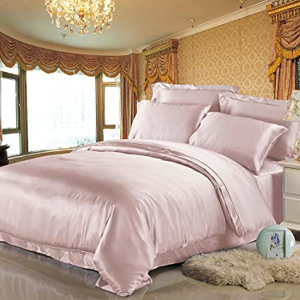 LilySilk 4Pcs Silk Bedding Sheets Flat Sheet Fitted Sheet Oxford  Pillowcases Set 19 Momme Pure Silk