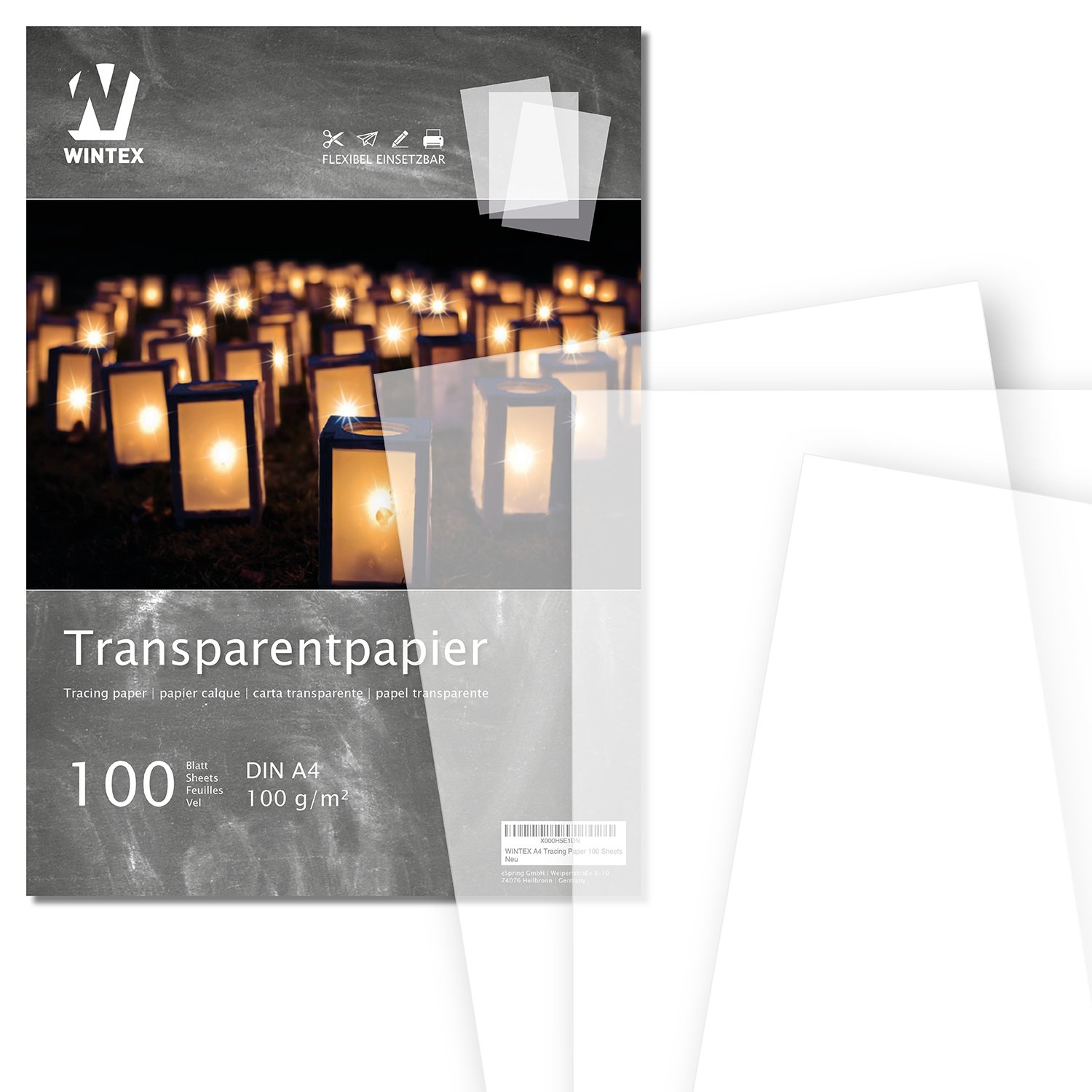 WINTEX Transparent Tracing Paper - pack of 100 sheets, DIN A4 - for ...