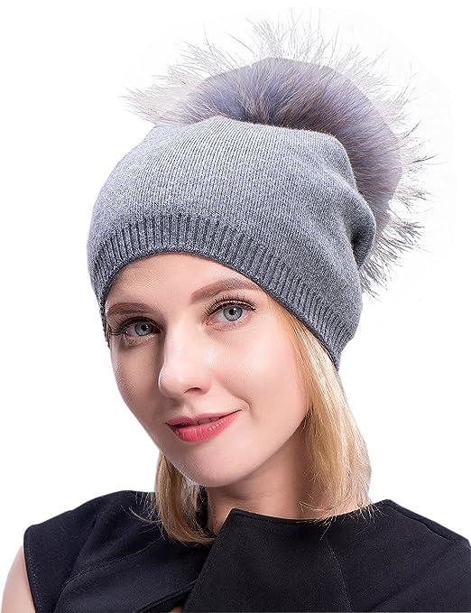 7562e6ca72e MS.MinShu Cashmere Hats Pompom Beanies Fur Hat Female Warm Caps Fur Pompom  Bobble Hat at Amazon Women s Clothing store