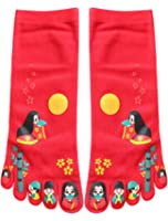 uxcell Women 2 Pack Japanese Cartoon Print Five Toe Socks