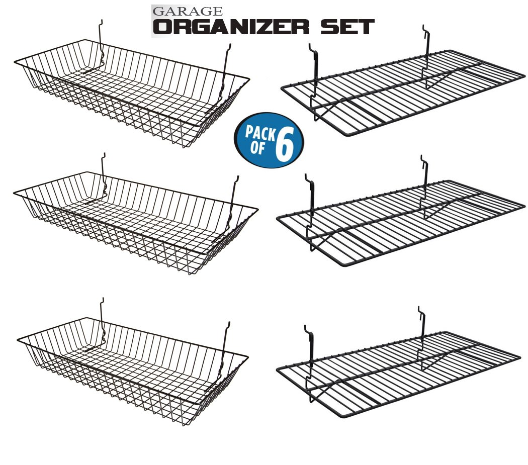 Only Garment Racks Garage Organizer Value Pack with 3 Shelves and 3 Steel Baskets, Designed for Slatwall, Gridwall or Pegboard