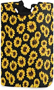 CaTaKu Tropical Sunflower Laundry Hamper, Van Gogh Laundry Basket Box Big Storage Waterproof Easy Carry for Family Dormitory Laundry Room, 12.6 x 11 x 22.7 Inches