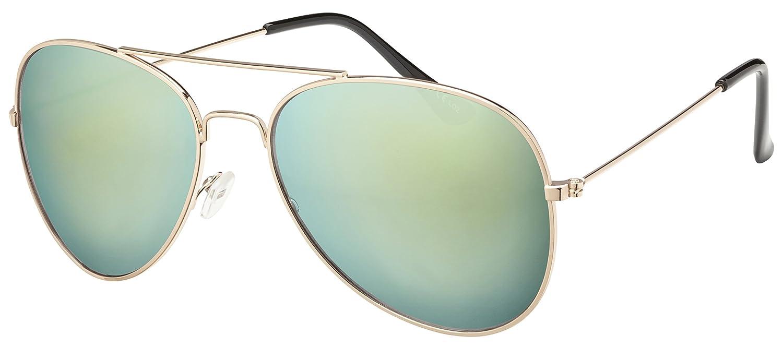 Original La Optica Unisex Piloten Sonnenbrille im Aviator Stil mit UV400 Schutz - Verschiedene Farben und Sets (Silber (Gläser: Rot verspiegelt)) kaiRdF