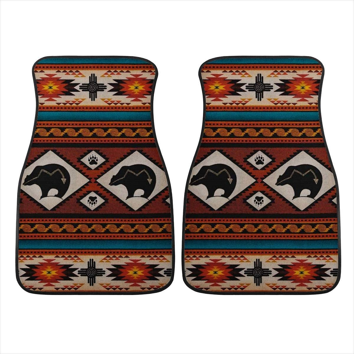 Red INSTANTARTS 2 Piece Skull Print Fashion Cool Car Floor Protector Carpets Polyester Soft Durable Universal Cars Mats
