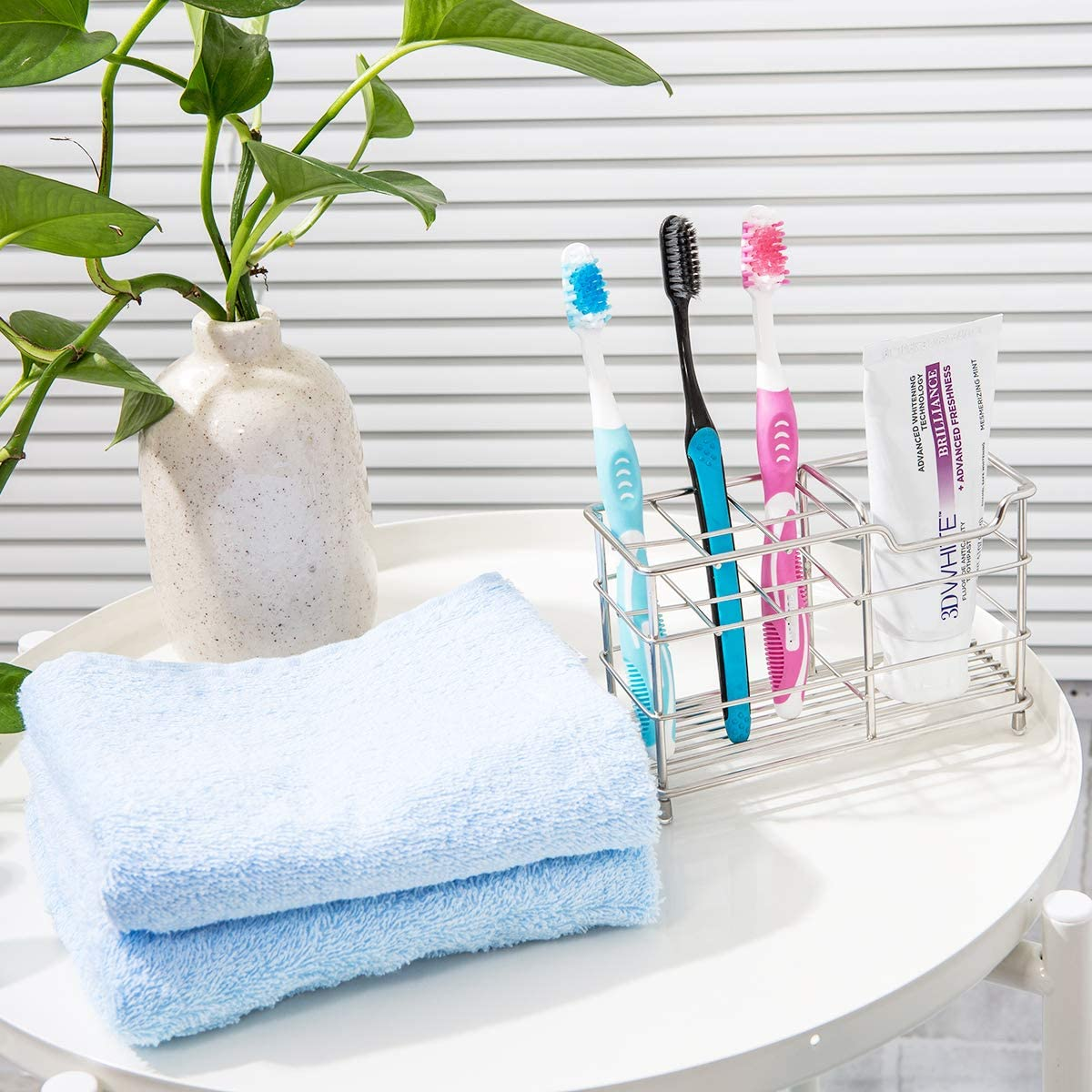 Amazer Toothbrush Holder Stainless Steel Rustproof Metal Bathroom Toothpaste Holder Stand with Multi-Functional 7 Slots for Toothbrush Toothpaste Cleanser: Kitchen & Dining