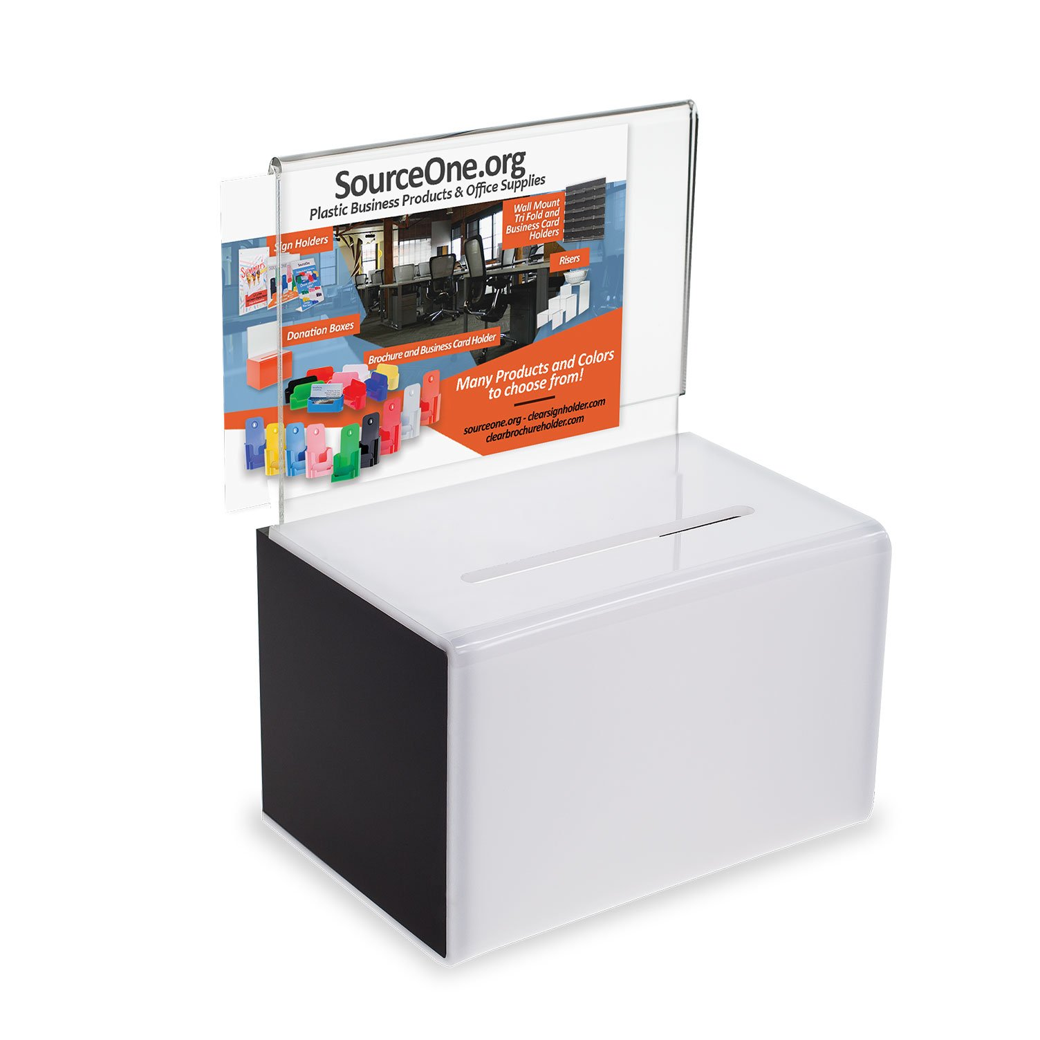 SourceOne Donation Box with Sign Holder and Lock, 5 inch Wide (1 Pack, Black & White)
