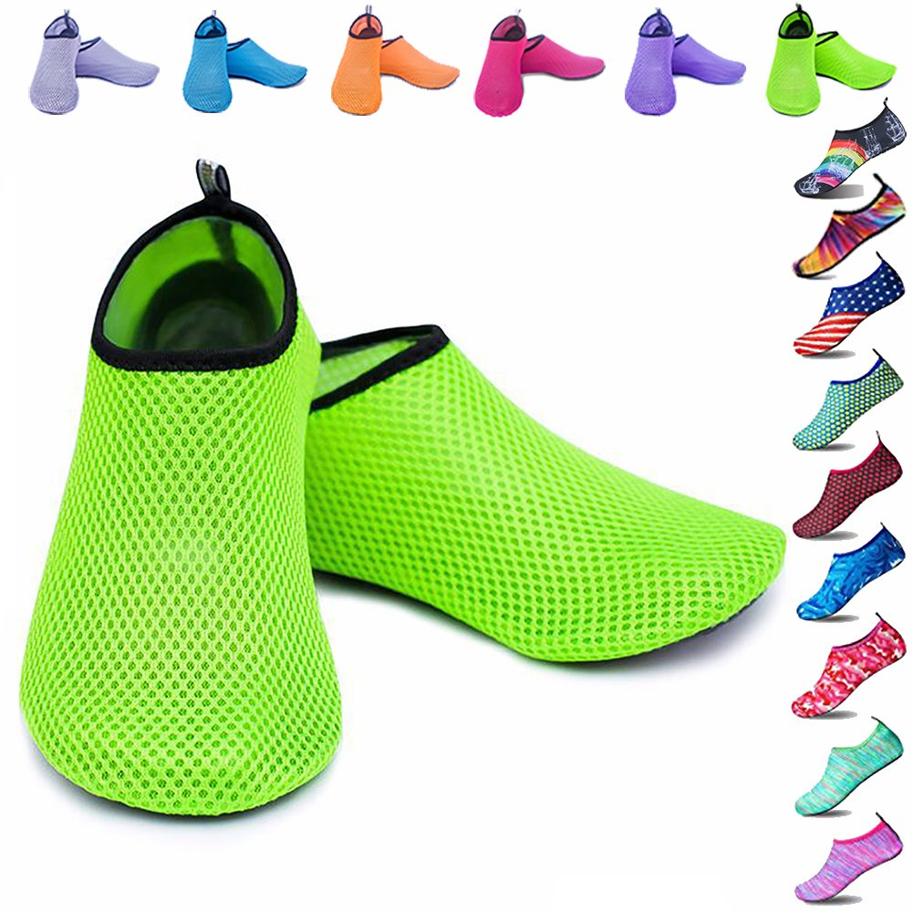 Peicees Mens and Womens Water Shoes Quick Dry Dive Beach Aqua Water Socks Upgraded Skin Shoes Booties for Beach Swim Snorkeling Surf Yoga Exercise(Mesh Green-US Big Kid:4-4.5M/US W:5.5-6.5M)