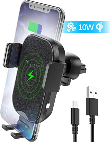 squish Wireless Car Charger, Qi Wireless Charger Car Phone Mount Auto Clamping for Air Vent, 7.5W Fast Charging for iPhone Xs Max XS XR X 8Plus 8, 10W for Samsung S10 S9 S8 S7 Samsung Note 9 8 7 etc