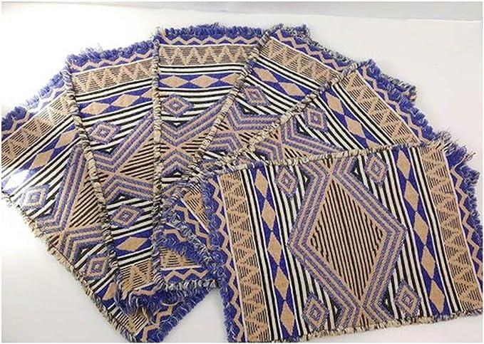 Viets Manteles individuales de ratán – Manteles individuales, tejido trenzado, teñido, azul índigo, navajo, nativo mexicano, manta bohemio, decoración de la cocina, cargador orgánico, manteles de mesa para servir de forma rápida: