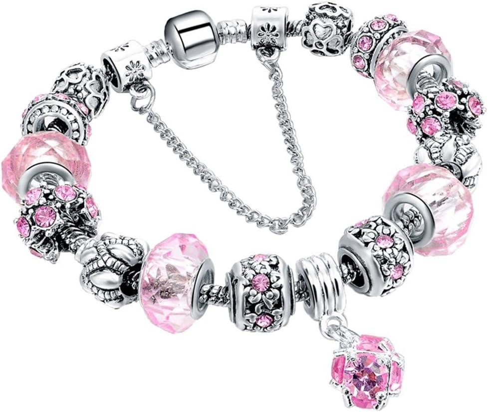 Morbuy Pulsera Charms de Mujer, Pulsera Brazalete Plateado Plata del Encanto con los Granos Amor Cupido y Flores para la Boda de Las Mujeres de Cumpleaños (20 cm, Rosado)