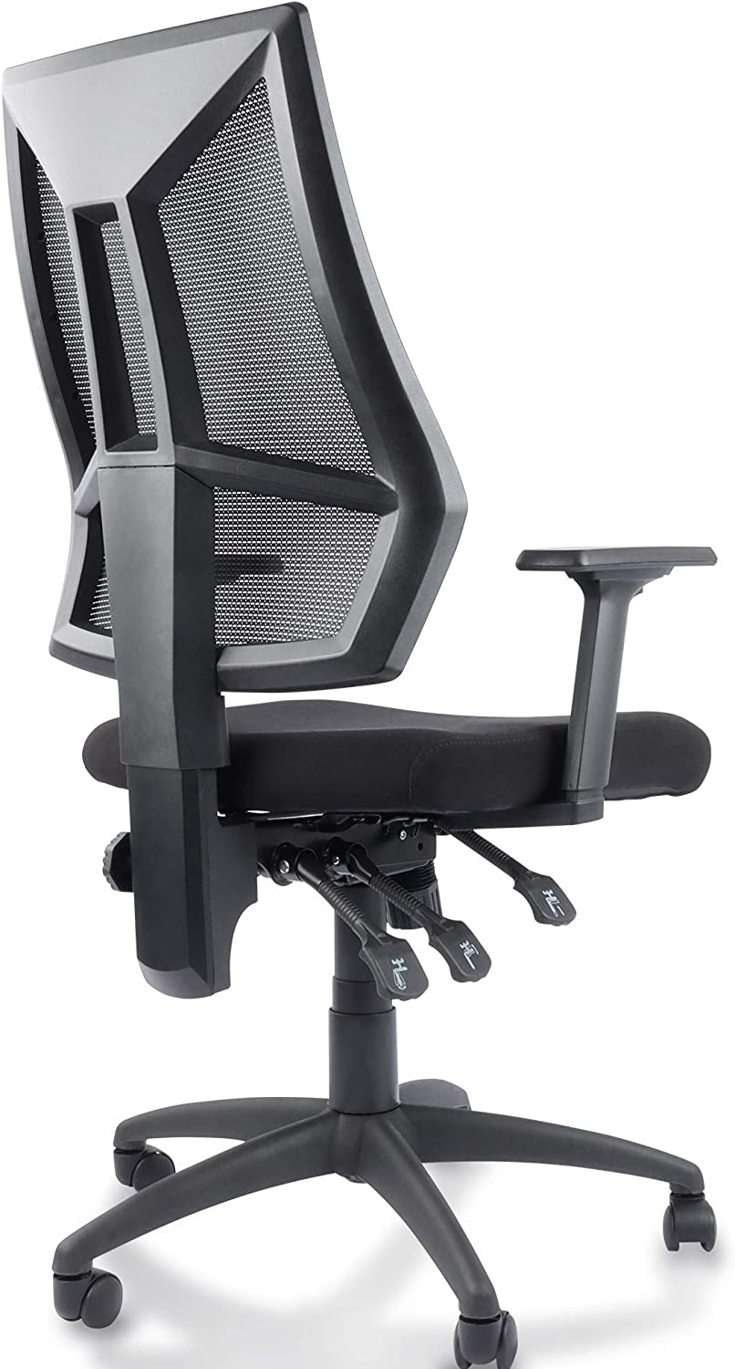 High-Back Ergonomic Desk Chair Mesh Swivel Task Office Chair with Adjustable Arms, Seat and Backrest (Black)