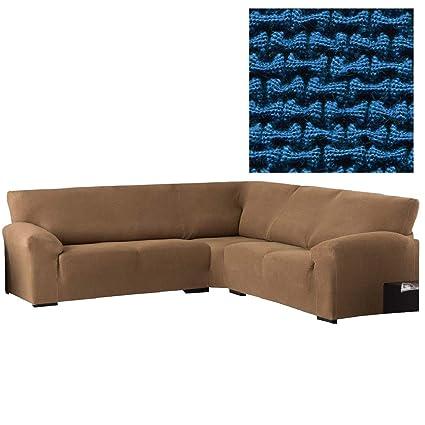 Jarrous Funda de Sofá Rinconera Modelo Lombardy, Color Azul-4, Medida 340-540cm de Ancho