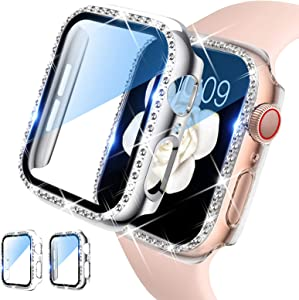 DABAOZA Compatible for Apple Watch 38mm Screen Protector, [2 pack] Bling Women Girl Dressy Crystal Diamonds Hard PC Rhinestone Protective Cover Bumper for iWatch Case Series 3/2/1 (38mm, Clear+Silver)
