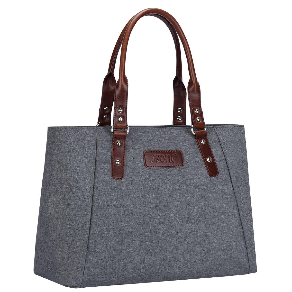 S-ZONE Women's Handbags Lightweight Large Tote Casual Work Bag (Grey)