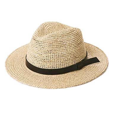 d7ac3f67ee53c Unisex Straw Fedora Crushable Travel Panama Hats for Men Summer Beach Trilby  Sun Hats Packable with Leather Band Natural Beige 56-60CM  Amazon.co.uk  ...