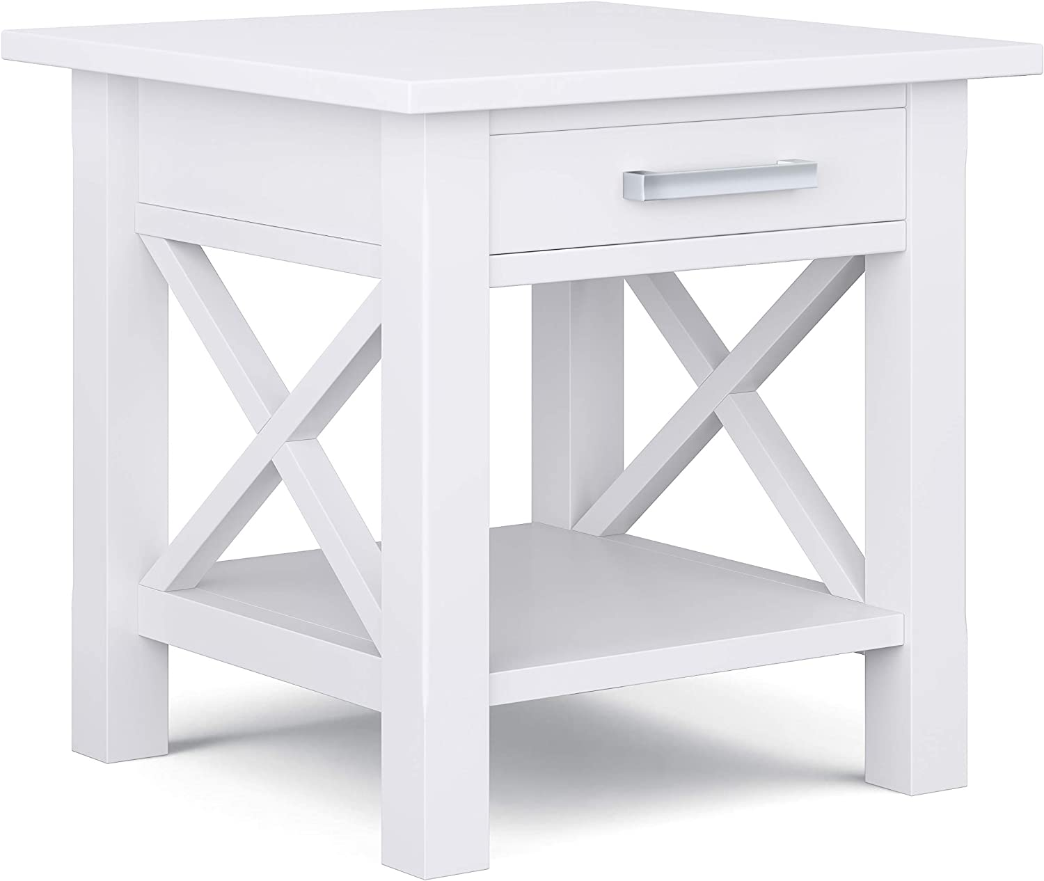 Simpli Home Kitchener SOLID WOOD 21 inch Wide Square Contemporary End Table in White