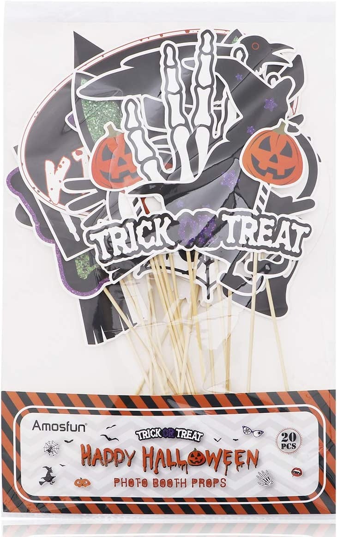 Amosfun 20PCS Halloween Photo Booth Props Selfie Props Creative Happy Halloween Party Decoration Supplies