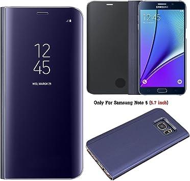 Guran® Mirror Efecto Espejo Funda para Samsung Galaxy Note 5 Clear View Función de Soporte Plegable Smartphone Funda Protectora (Púrpura): Amazon.es: Electrónica