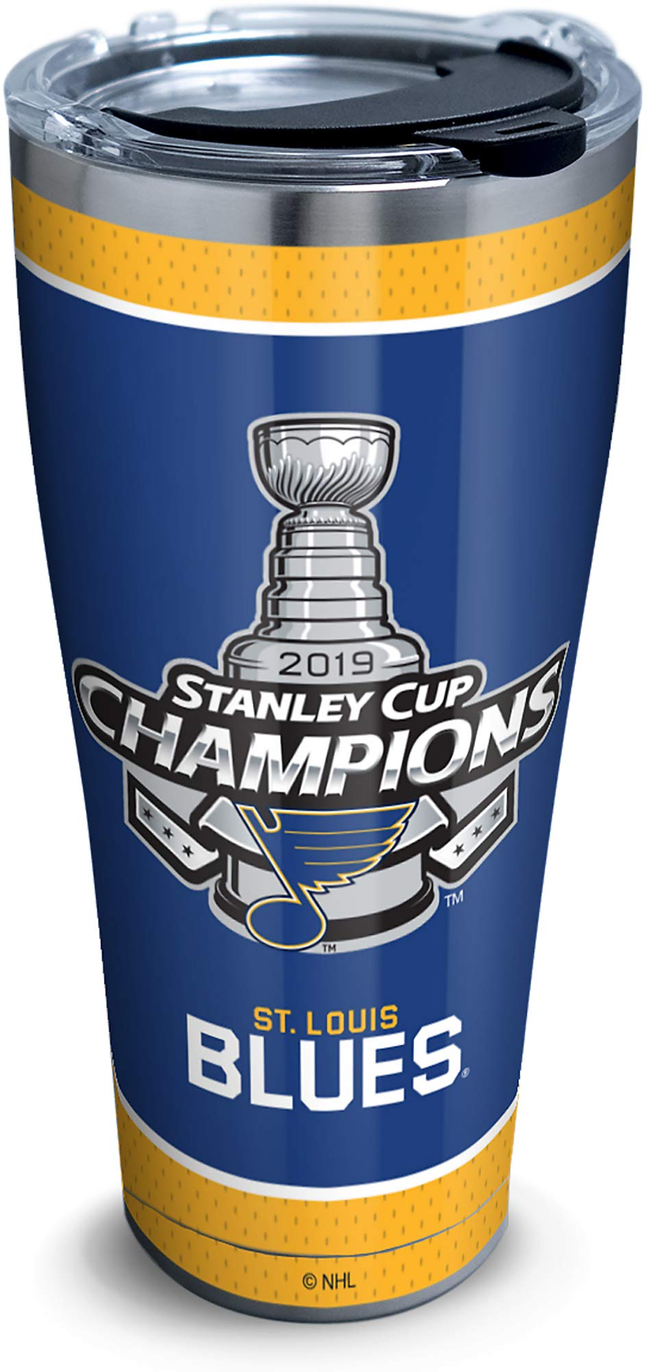 Tervis NHL St. Louis Blues 2019 Stanley Cup Champions Stainless Steel Insulated Tumbler with Clear & Black Hammer Lid, 30 oz, Silver - 1336028