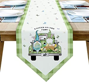 Cotton Linen Table Runners Easter Truck Gnome Egg Bunny Butterfly Tablecovers for Kitchen Garden Green Plaid Wedding Parties Dinner Indoor Outdoors Home Easter Decorations Spring 13x90 inches Long