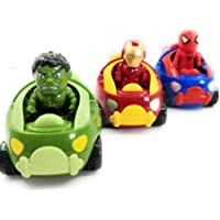 CocoRio® Avenger Ironman Spiderman & Hulk Moving Head Friction Car Toy Vehicle Playset for Kids (Pack of 2)