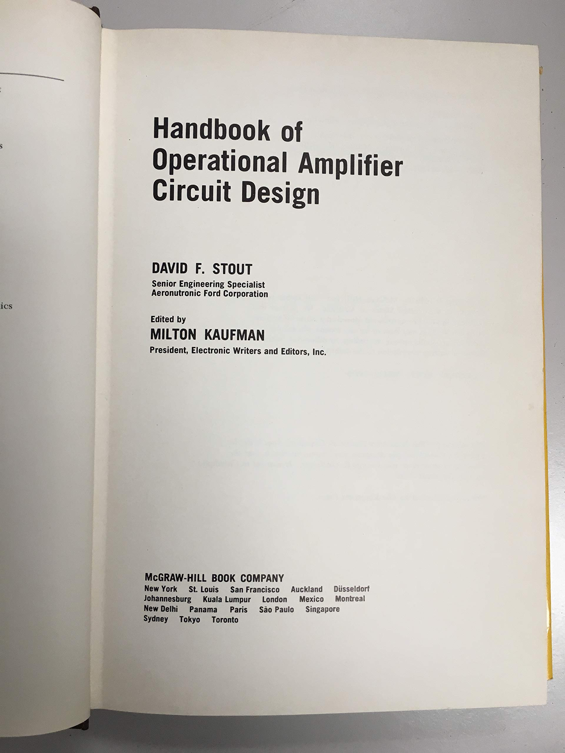 Handbook Of Operational Amplifier Circuit Design David F Stout Guide To Be An Electronic Engineer Rc Milton Kaufman 9780070617971 Books