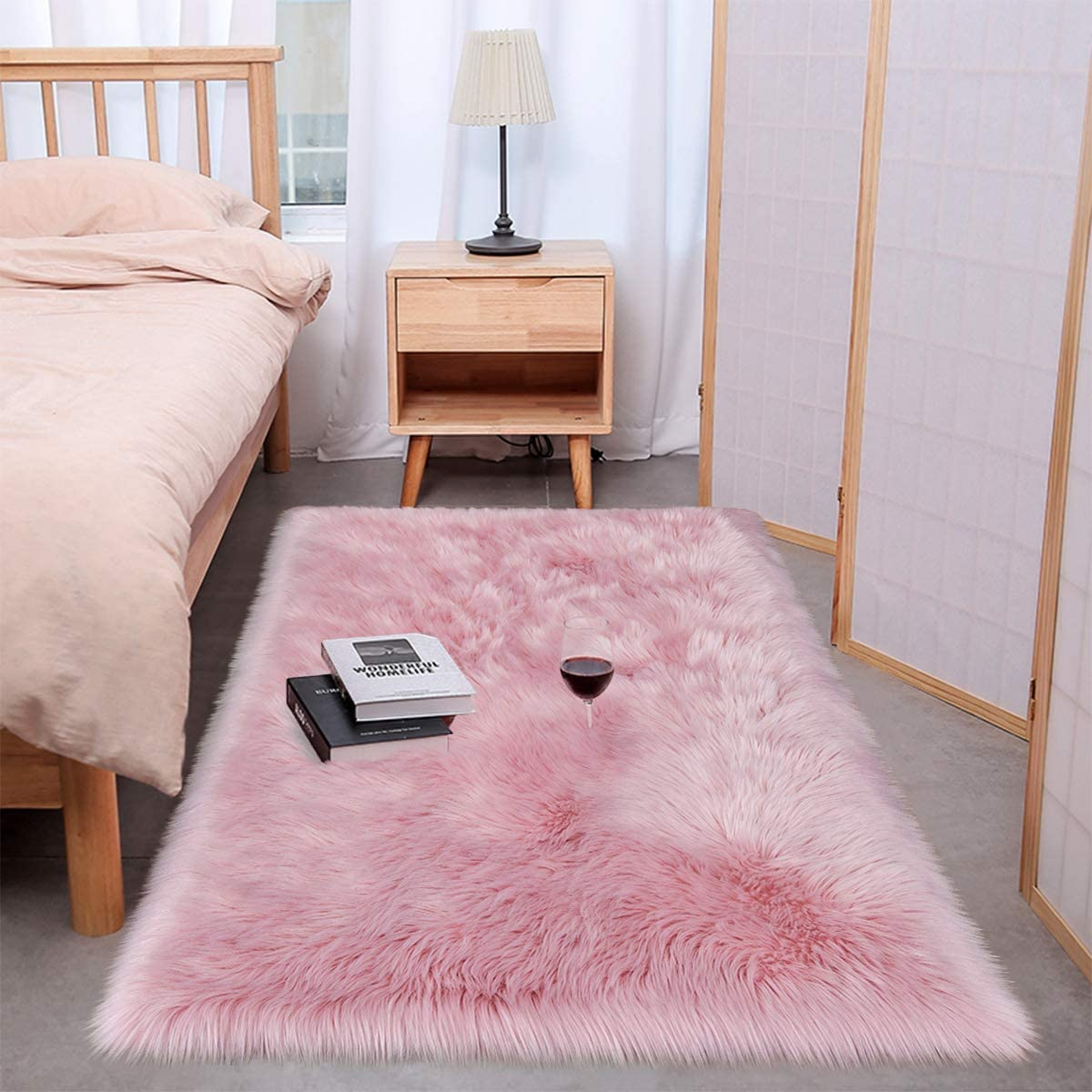 Wondo Soft Shag Faux Fur Sheepskin Area Rugs for Bedroom Home Decor Floor Sofa Couch Fluffy Carpet Chair Cover Cushion 3ft x 5ft,Pink