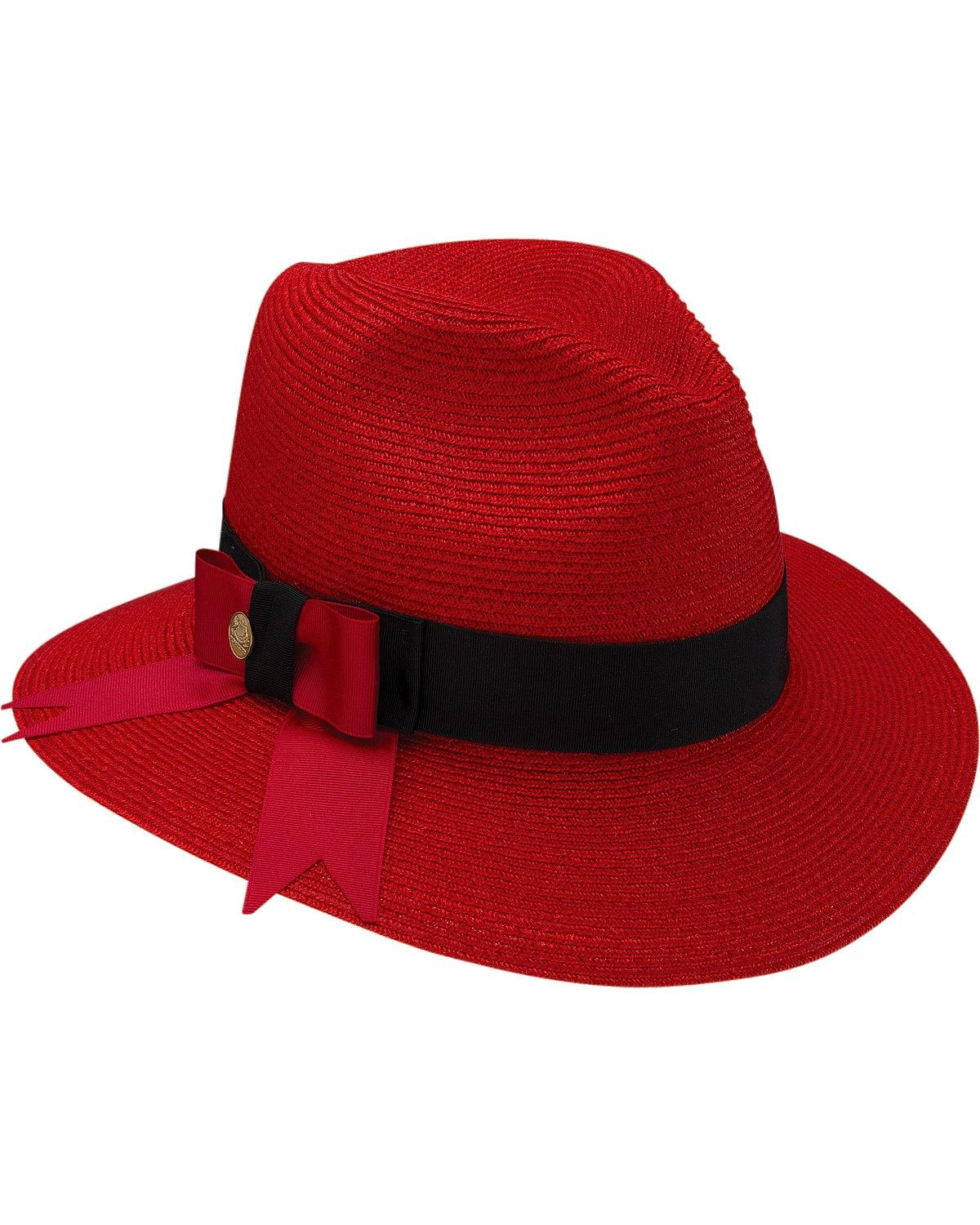 Stetson Women's Cat's Meow Hemp Braid Fedora Hat Red Medium