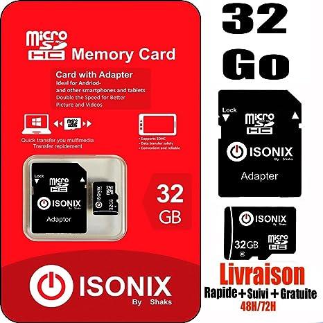 isonix Tarjeta Memoria Micro SD 32 GB SDH + Adaptador: Amazon.es ...