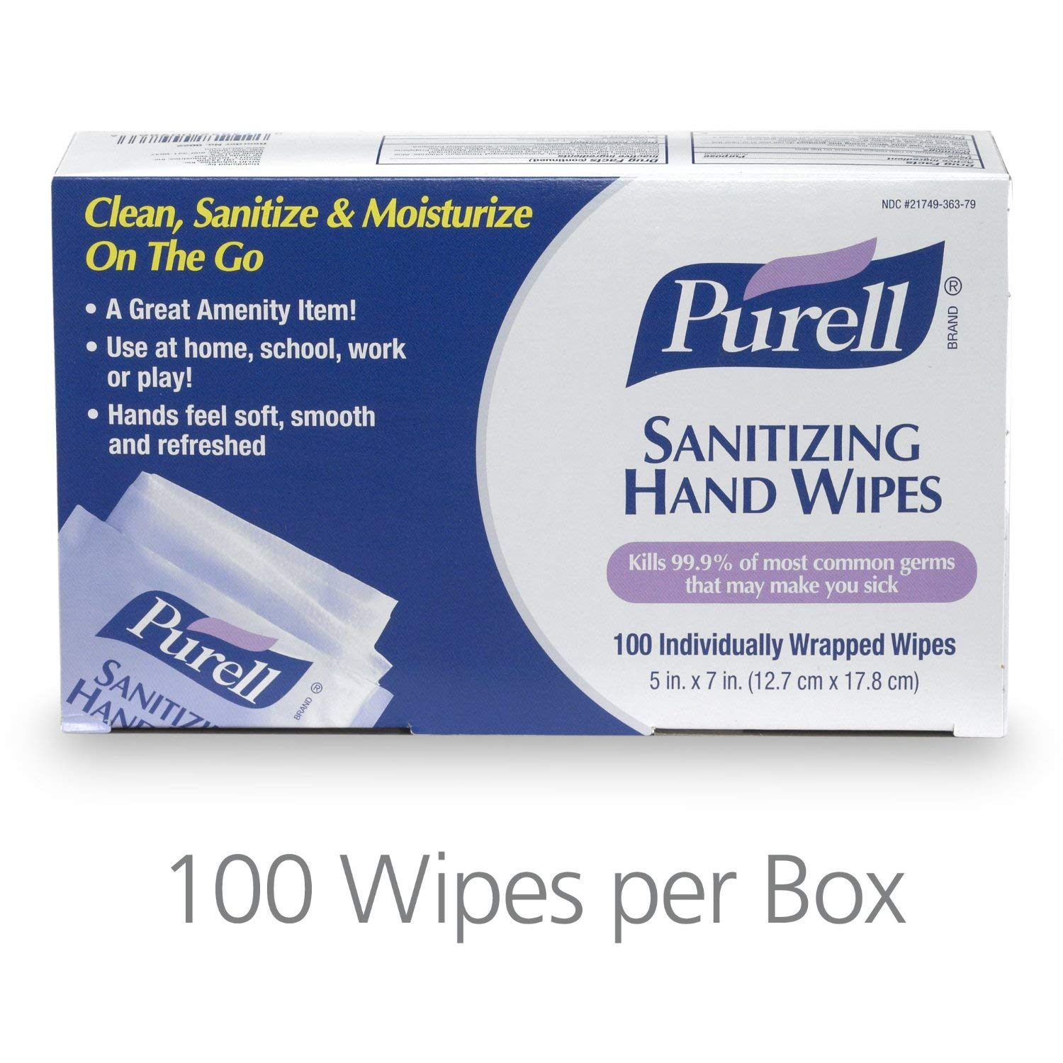 PURELL 902210CT Sanitizing Hand Wipes, 5w x 7l, Individually Wrapped, Box of 100 (Case of 10 Boxes)