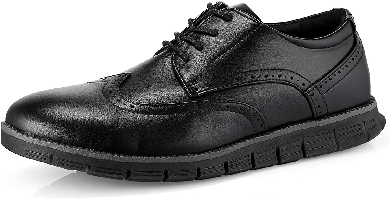 Mens Shoes Brogue Shoes for Men Wingtip Oxfords Casual Lace-up Dress Shoes Leather Upper Round Toe Lightweight Breathable Walking Shoes Casual