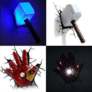 Amazon marvel avengers 3d deco wall led marvel avengers 3d deco wall led night 3d thor mozeypictures